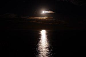 Moonlight on the sea public domain